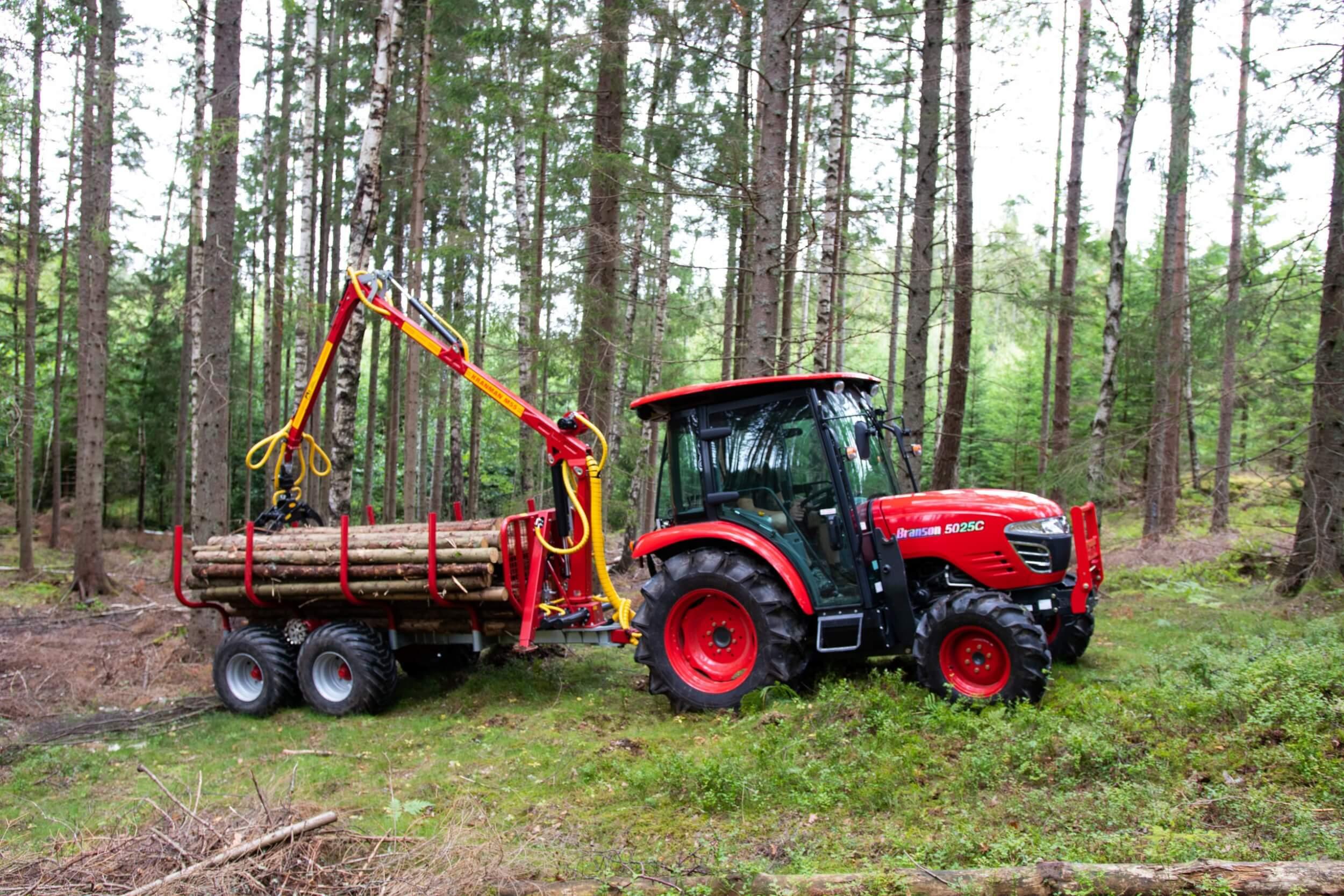 Traktorvagn T5000ex kranman med Branso 5025C